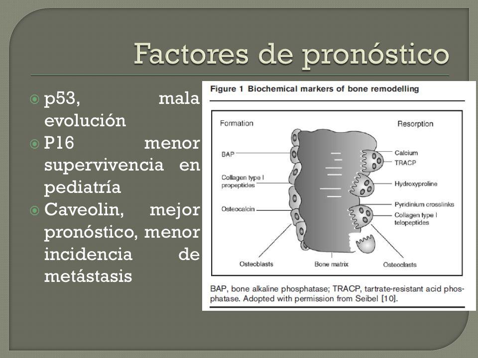 p53, mala evolución P16 menor supervivencia en pediatría Caveolin, mejor pronóstico, menor incidencia de metástasis
