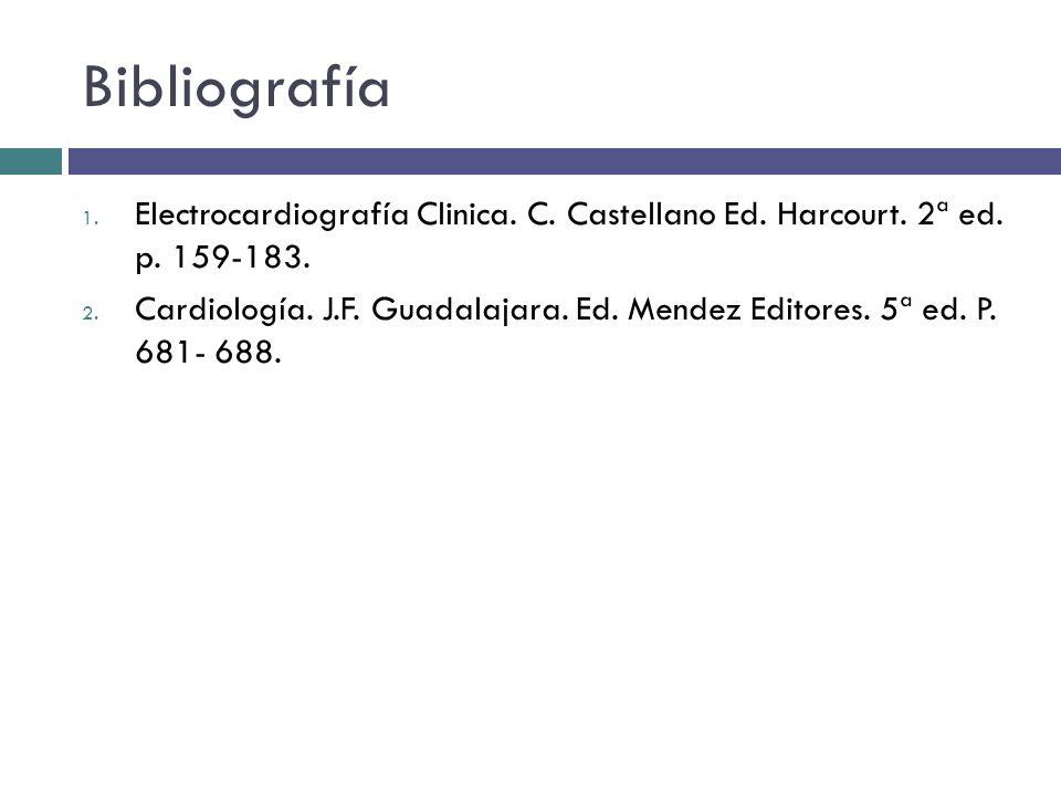 Bibliografía 1. Electrocardiografía Clinica. C. Castellano Ed. Harcourt. 2ª ed. p. 159-183. 2. Cardiología. J.F. Guadalajara. Ed. Mendez Editores. 5ª
