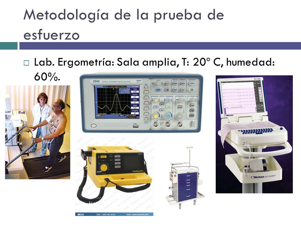 Metodología de la prueba de esfuerzo Lab. Ergometría: Sala amplia, T: 20º C, humedad: 60%.
