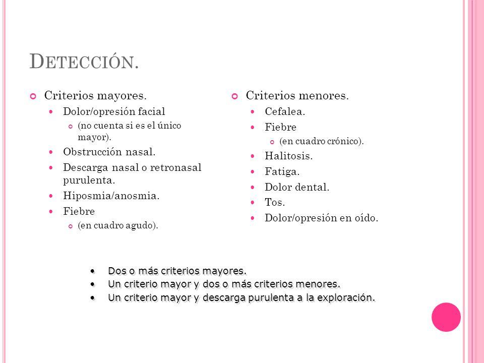 D ETECCIÓN. Criterios mayores. Dolor/opresión facial (no cuenta si es el único mayor).