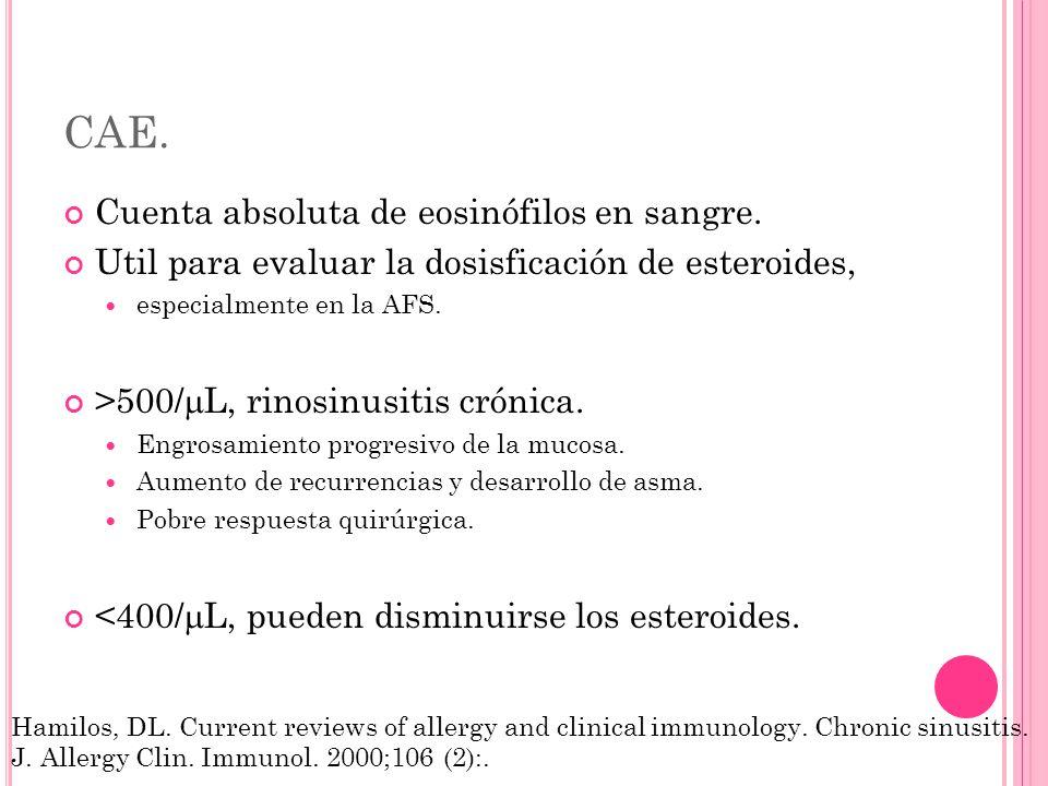 CAE. Cuenta absoluta de eosinófilos en sangre.