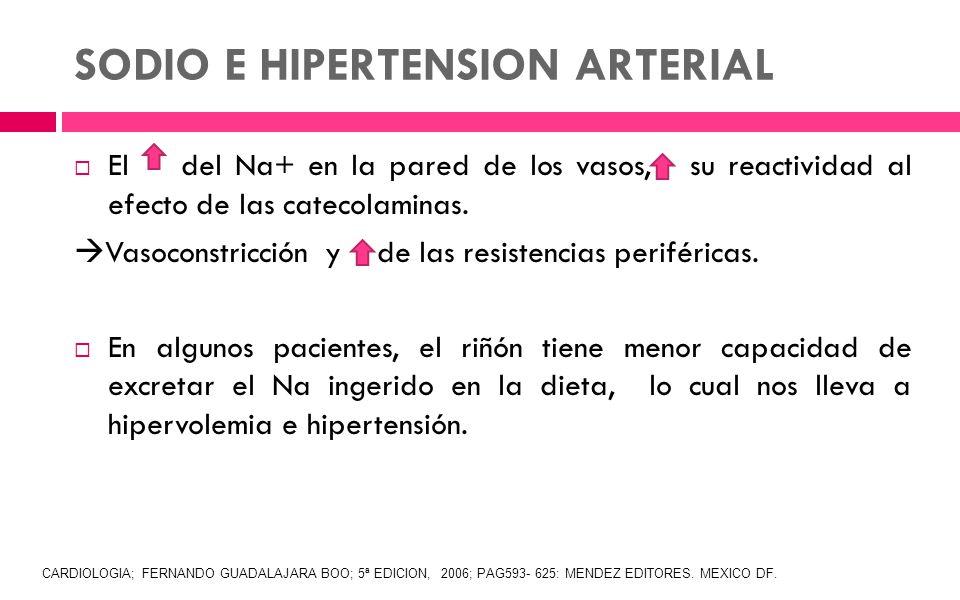 SODIO E HIPERTENSION ARTERIAL El del Na+ en la pared de los vasos, su reactividad al efecto de las catecolaminas. Vasoconstricción y de las resistenci