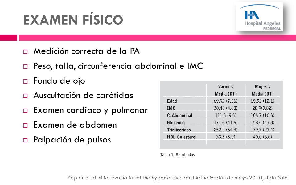 EXAMEN FÍSICO Medición correcta de la PA Peso, talla, circunferencia abdominal e IMC Fondo de ojo Auscultación de carótidas Examen cardiaco y pulmonar
