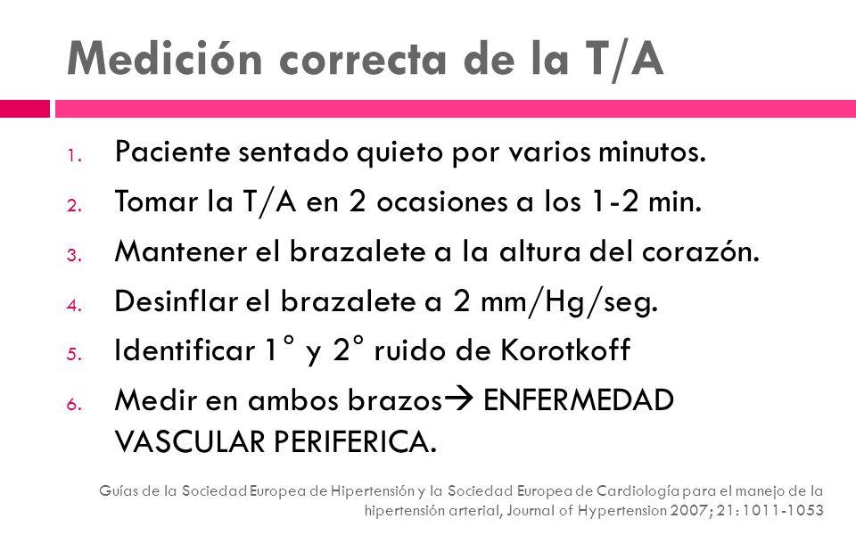 Medición correcta de la T/A 1. Paciente sentado quieto por varios minutos. 2. Tomar la T/A en 2 ocasiones a los 1-2 min. 3. Mantener el brazalete a la