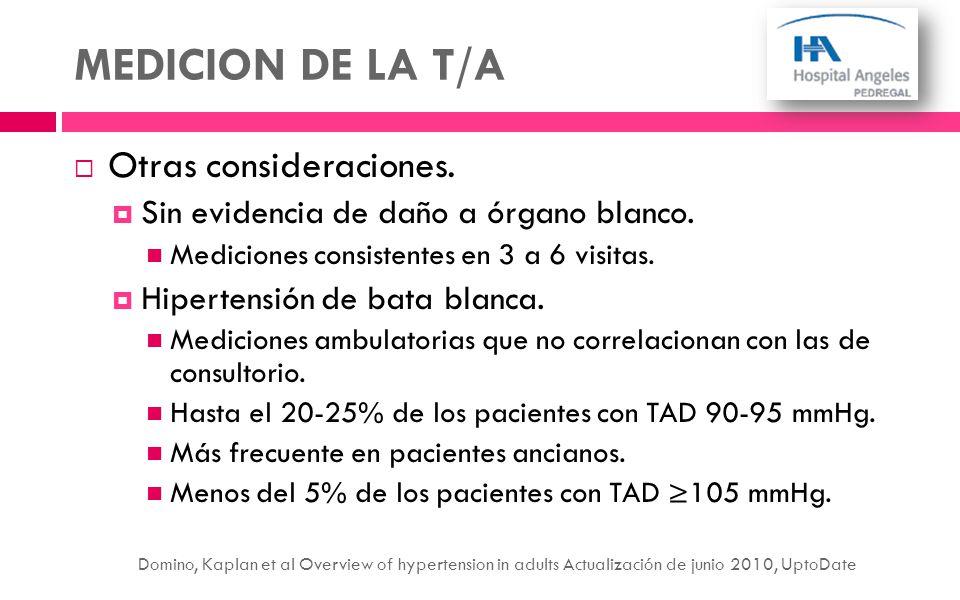MEDICION DE LA T/A Otras consideraciones. Sin evidencia de daño a órgano blanco. Mediciones consistentes en 3 a 6 visitas. Hipertensión de bata blanca