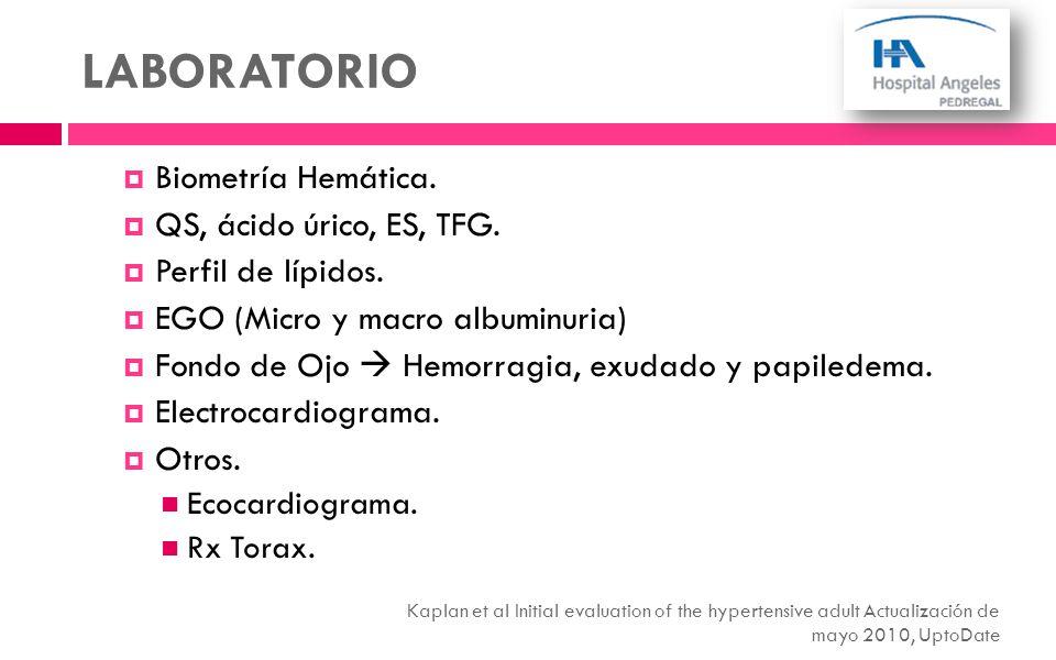 Biometría Hemática. QS, ácido úrico, ES, TFG. Perfil de lípidos. EGO (Micro y macro albuminuria) Fondo de Ojo Hemorragia, exudado y papiledema. Electr