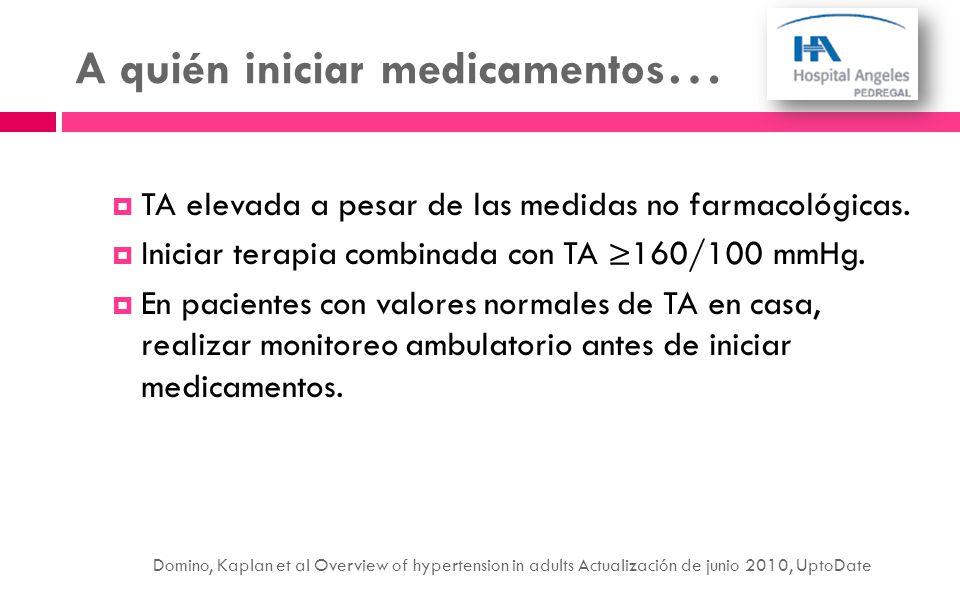 A quién iniciar medicamentos … TA elevada a pesar de las medidas no farmacológicas. Iniciar terapia combinada con TA 160/100 mmHg. En pacientes con va