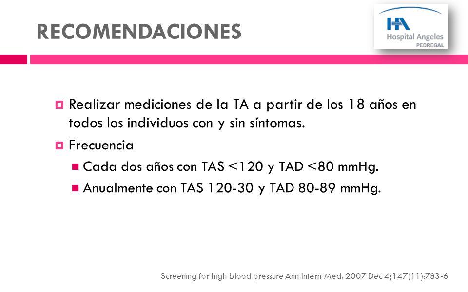 RECOMENDACIONES Realizar mediciones de la TA a partir de los 18 años en todos los individuos con y sin síntomas. Frecuencia Cada dos años con TAS <120