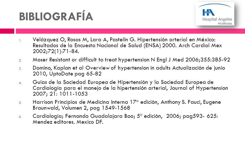 BIBLIOGRAFÍA 1. Velázquez O, Rosas M, Lara A, Pastelín G. Hipertensión arterial en México: Resultados de la Encuesta Nacional de Salud (ENSA) 2000. Ar