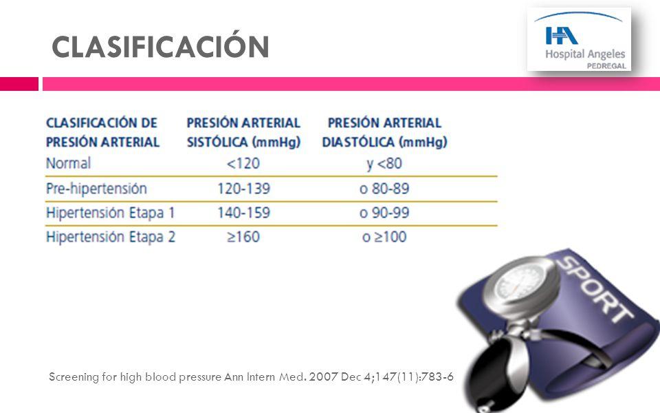 CLASIFICACIÓN Screening for high blood pressure Ann Intern Med. 2007 Dec 4;147(11):783-6