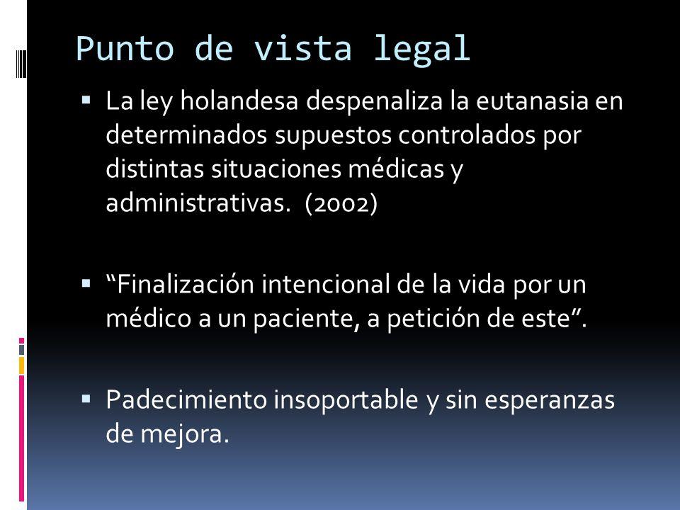 Punto de vista legal En México, 2008 Un adulto enfermo terminal puede solicitar por escrito ante dos testigos que desea dejar de recibir un tratamiento que alargue su vida.