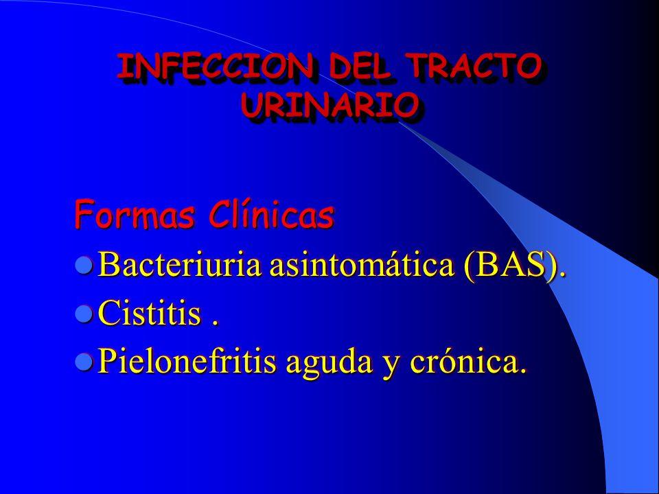 INFECCION DEL TRACTO URINARIO Formas Clínicas Bacteriuria asintomática (BAS). Bacteriuria asintomática (BAS). Cistitis. Cistitis. Pielonefritis aguda