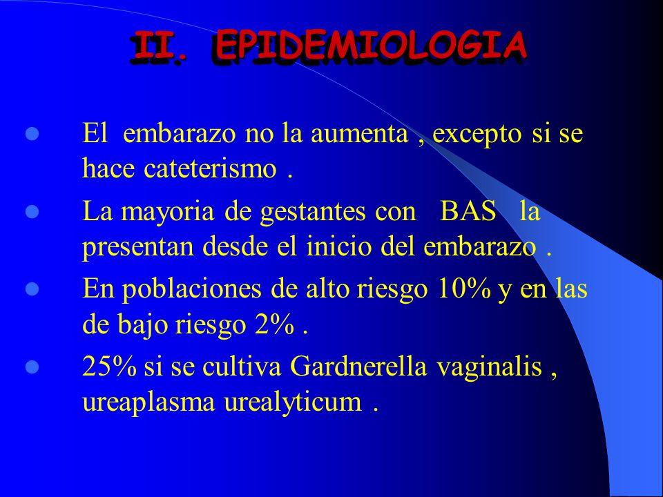II.EPIDEMIOLOGIA El embarazo no la aumenta, excepto si se hace cateterismo. La mayoria de gestantes con BAS la presentan desde el inicio del embarazo.