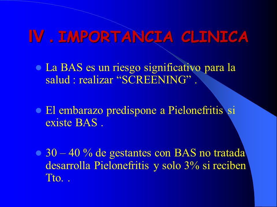 IV. IMPORTANCIA CLINICA La BAS es un riesgo significativo para la salud : realizar SCREENING. El embarazo predispone a Pielonefritis si existe BAS. 30