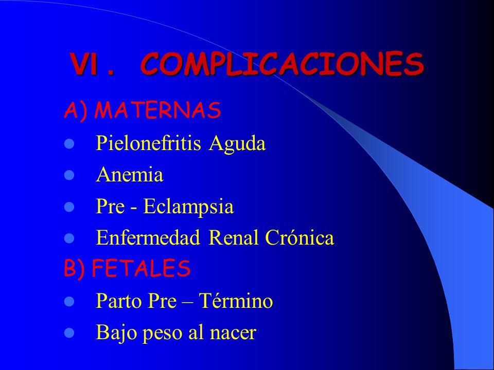 VI. COMPLICACIONES A) MATERNAS Pielonefritis Aguda Anemia Pre - Eclampsia Enfermedad Renal Crónica B) FETALES Parto Pre – Término Bajo peso al nacer