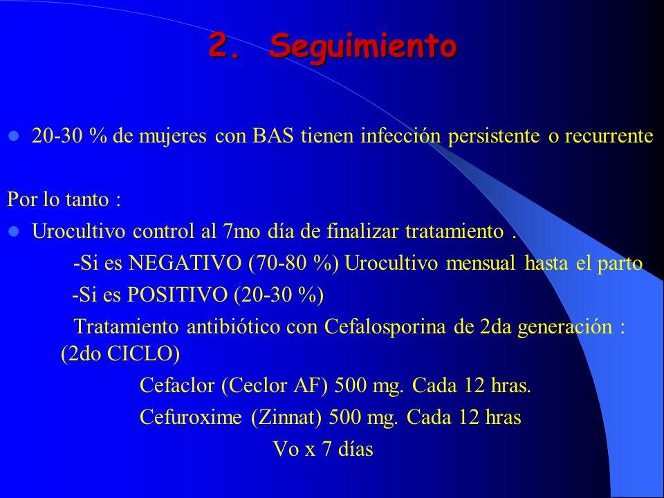 2.Seguimiento 20-30 % de mujeres con BAS tienen infección persistente o recurrente Por lo tanto : Urocultivo control al 7mo día de finalizar tratamien