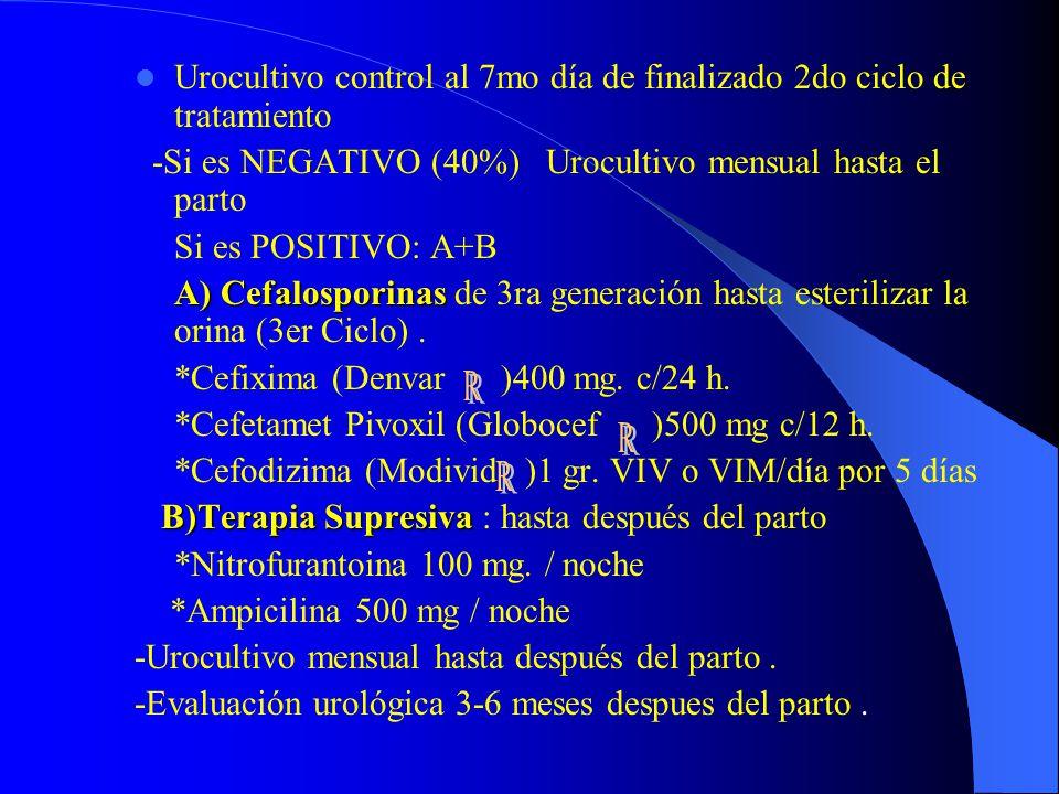 Urocultivo control al 7mo día de finalizado 2do ciclo de tratamiento -Si es NEGATIVO (40%) Urocultivo mensual hasta el parto Si es POSITIVO: A+B A) Ce