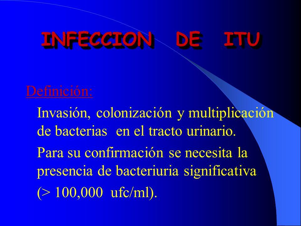 Definición: Invasión, colonización y multiplicación de bacterias en el tracto urinario. Para su confirmación se necesita la presencia de bacteriuria s