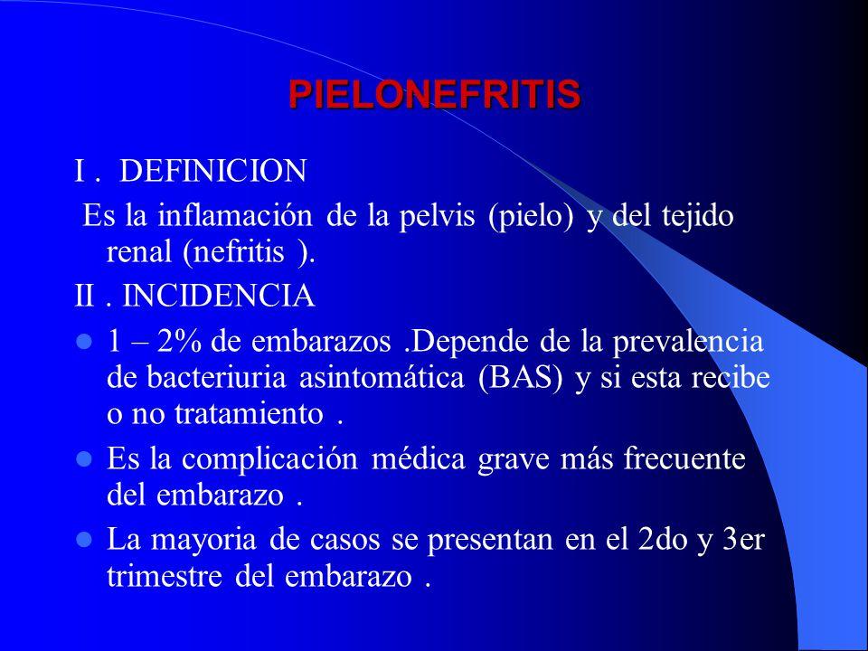 PIELONEFRITIS I. DEFINICION Es la inflamación de la pelvis (pielo) y del tejido renal (nefritis ). II. INCIDENCIA 1 – 2% de embarazos.Depende de la pr