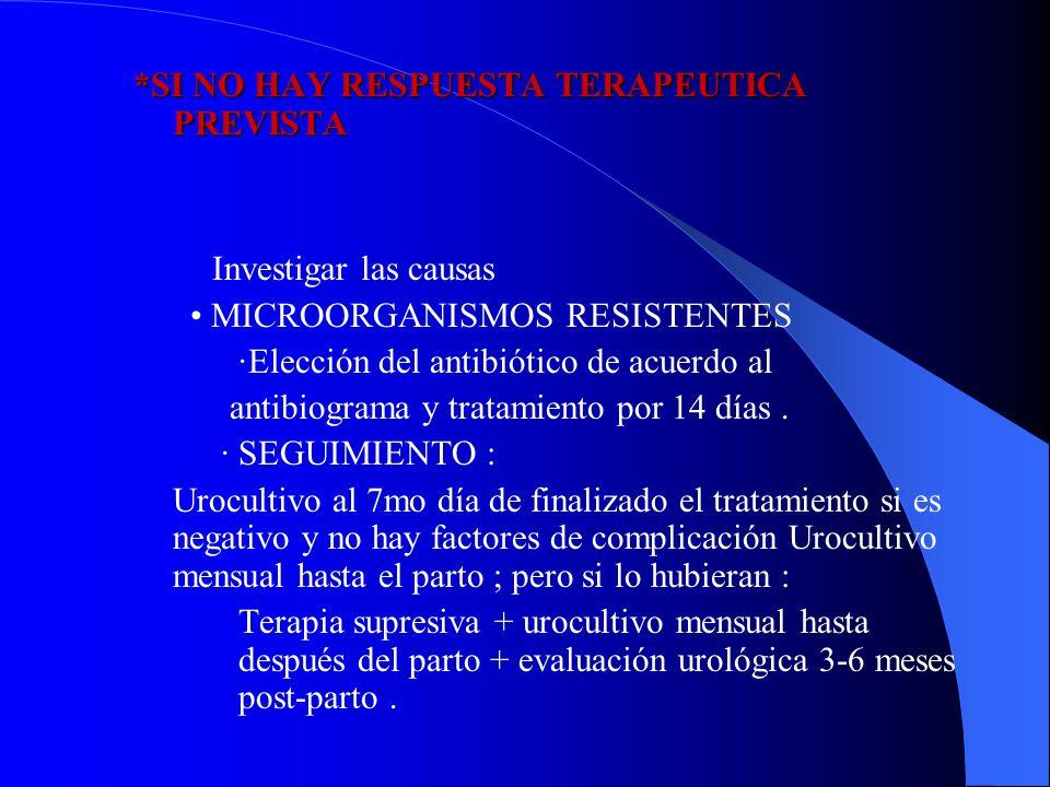 *SI NO HAY RESPUESTA TERAPEUTICA PREVISTA Investigar las causas MICROORGANISMOS RESISTENTES ·Elección del antibiótico de acuerdo al antibiograma y tra