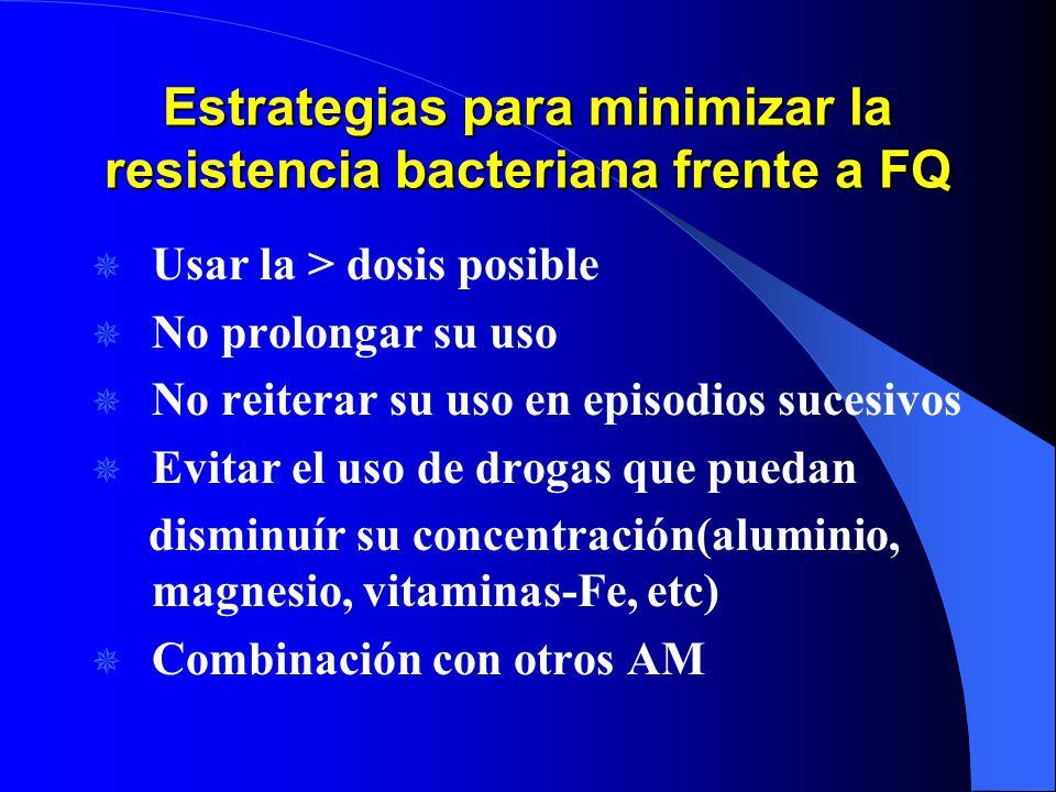 Estrategias para minimizar la resistencia bacteriana frente a FQ Usar la > dosis posible No prolongar su uso No reiterar su uso en episodios sucesivos