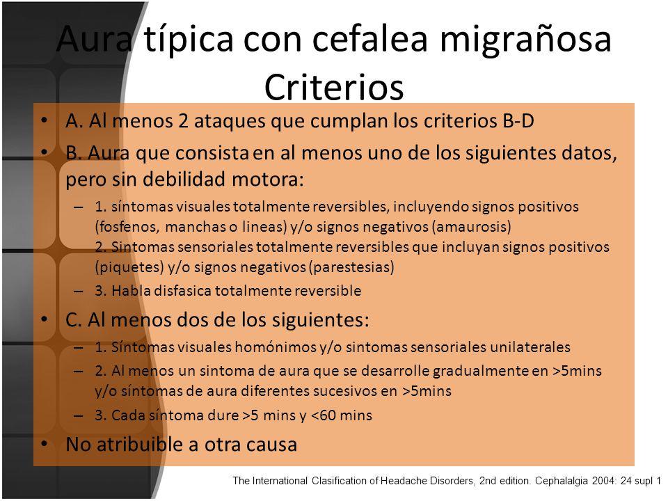 Aura típica con cefalea migrañosa Criterios A.Al menos 2 ataques que cumplan los criterios B-D B.