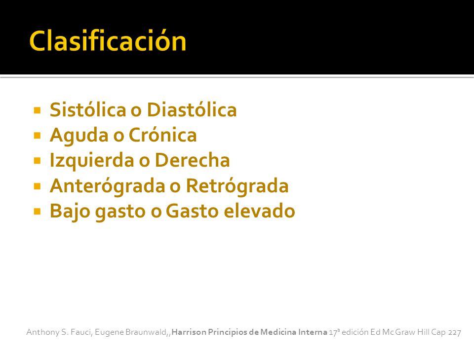 Sistólica o Diastólica Aguda o Crónica Izquierda o Derecha Anterógrada o Retrógrada Bajo gasto o Gasto elevado Anthony S.
