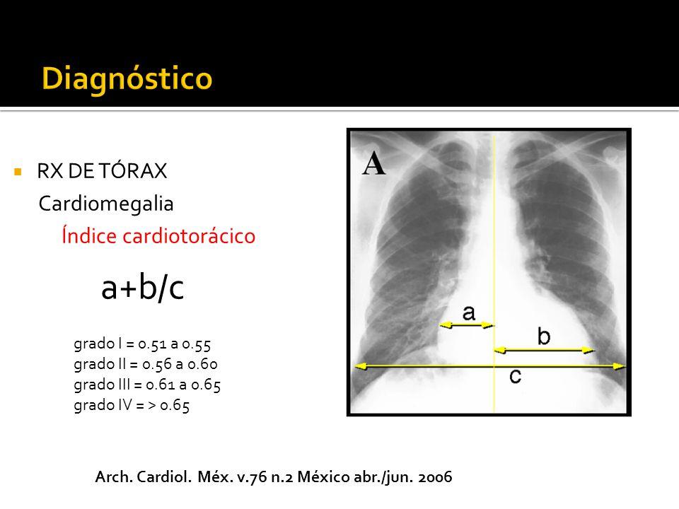 RX DE TÓRAX Cardiomegalia Índice cardiotorácico a+b/c grado I = 0.51 a 0.55 grado II = 0.56 a 0.60 grado III = 0.61 a 0.65 grado IV = > 0.65 Arch.