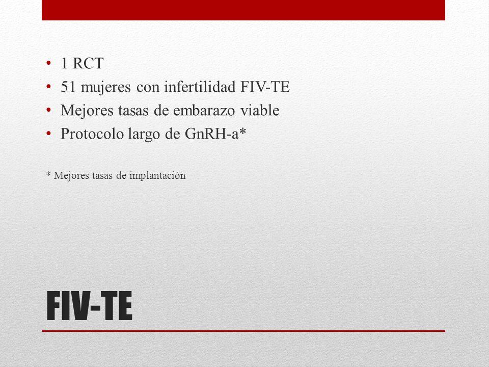 FIV-TE 1 RCT 51 mujeres con infertilidad FIV-TE Mejores tasas de embarazo viable Protocolo largo de GnRH-a* * Mejores tasas de implantación