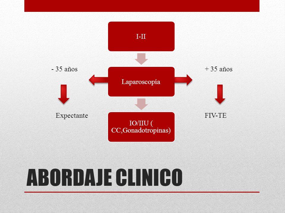 ABORDAJE CLINICO I-IILaparoscopía IO/IIU ( CC,Gonadotropinas) + 35 años- 35 años FIV-TEExpectante