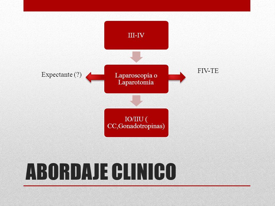 ABORDAJE CLINICO III-IV Laparoscopía o Laparotomía IO/IIU ( CC,Gonadotropinas) FIV-TE Expectante (?)