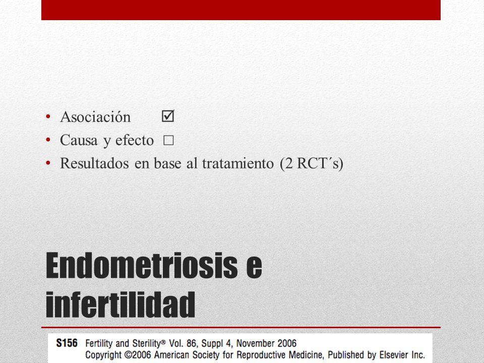 Endometriosis e infertilidad Asociación Causa y efecto Resultados en base al tratamiento (2 RCT´s)