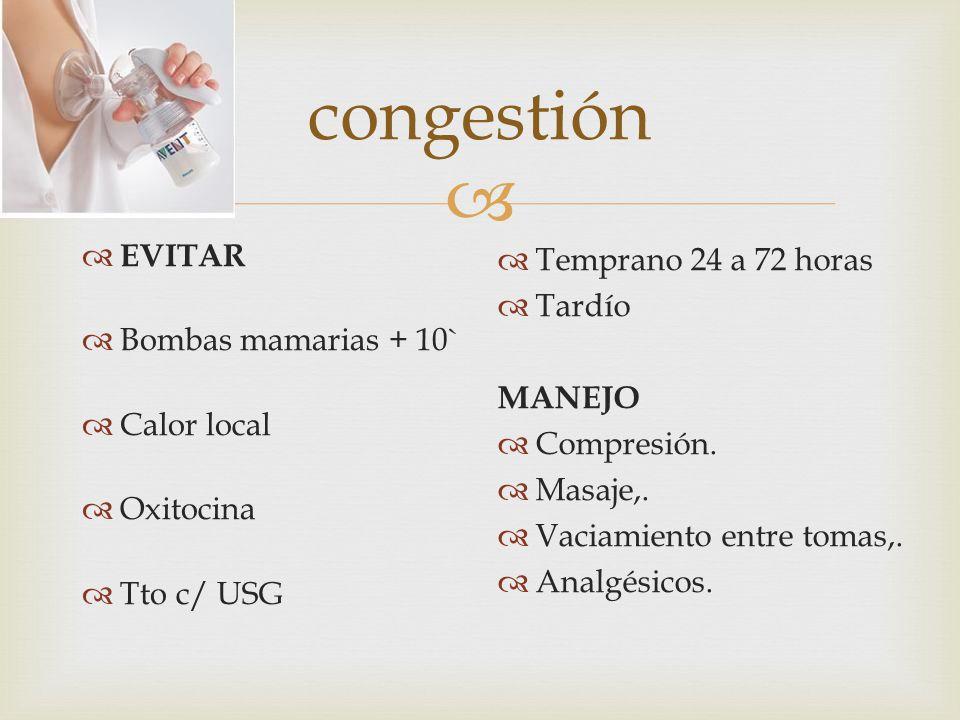 congestión EVITAR Bombas mamarias + 10` Calor local Oxitocina Tto c/ USG Temprano 24 a 72 horas Tardío MANEJO Compresión.
