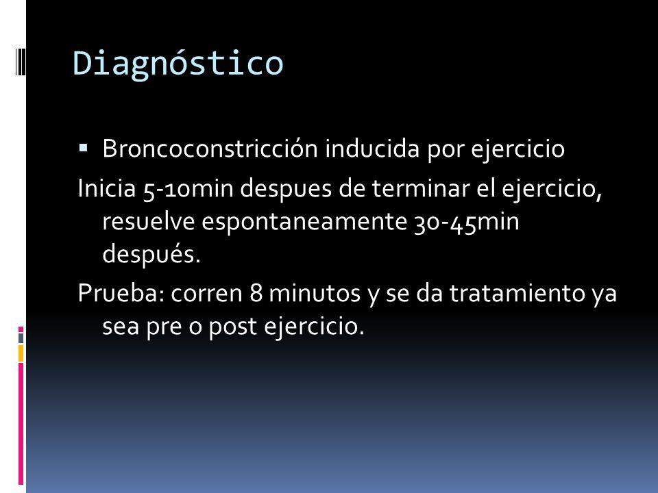 Diagnóstico Broncoconstricción inducida por ejercicio Inicia 5-10min despues de terminar el ejercicio, resuelve espontaneamente 30-45min después.