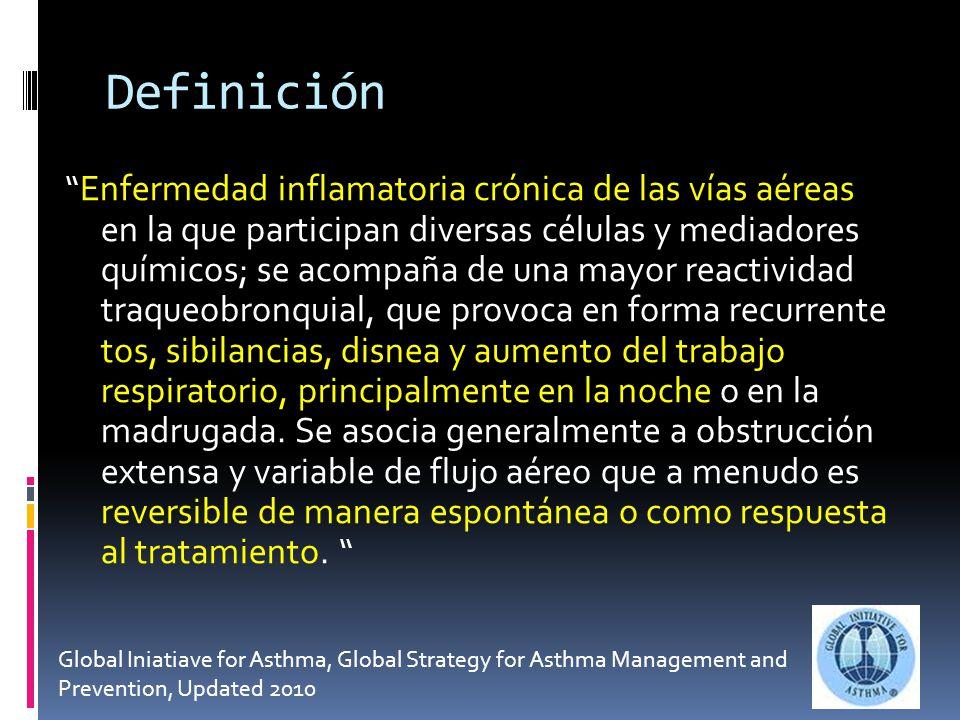 Definición Enfermedad inflamatoria crónica de las vías aéreas en la que participan diversas células y mediadores químicos; se acompaña de una mayor reactividad traqueobronquial, que provoca en forma recurrente tos, sibilancias, disnea y aumento del trabajo respiratorio, principalmente en la noche o en la madrugada.