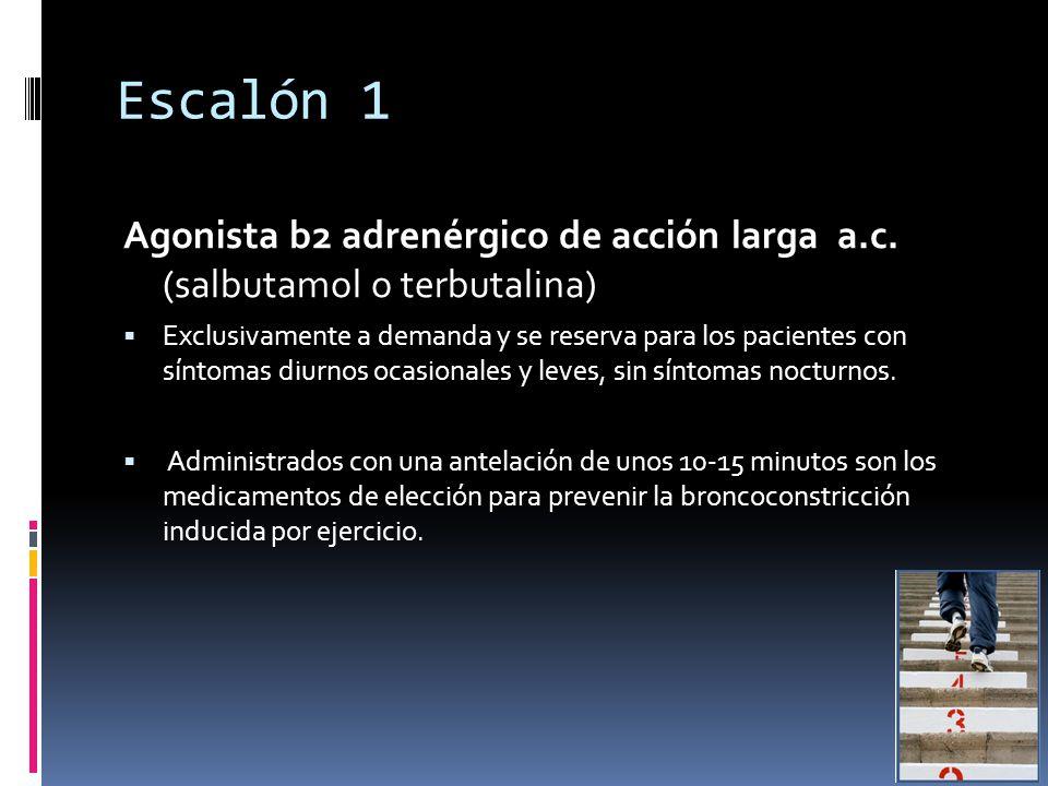 Escalón 1 Agonista b2 adrenérgico de acción larga a.c. (salbutamol o terbutalina) Exclusivamente a demanda y se reserva para los pacientes con síntoma