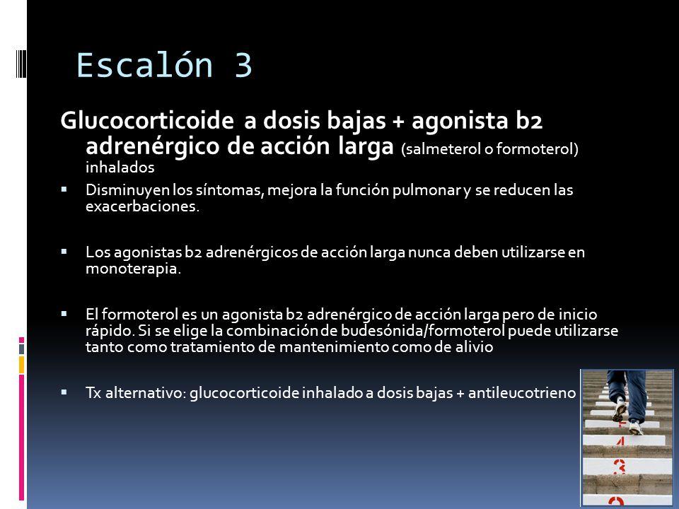 Escalón 3 Glucocorticoide a dosis bajas + agonista b2 adrenérgico de acción larga (salmeterol o formoterol) inhalados Disminuyen los síntomas, mejora la función pulmonar y se reducen las exacerbaciones.