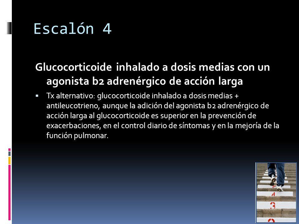 Escalón 4 Glucocorticoide inhalado a dosis medias con un agonista b2 adrenérgico de acción larga Tx alternativo: glucocorticoide inhalado a dosis medias + antileucotrieno, aunque la adición del agonista b2 adrenérgico de acción larga al glucocorticoide es superior en la prevención de exacerbaciones, en el control diario de síntomas y en la mejoría de la función pulmonar.