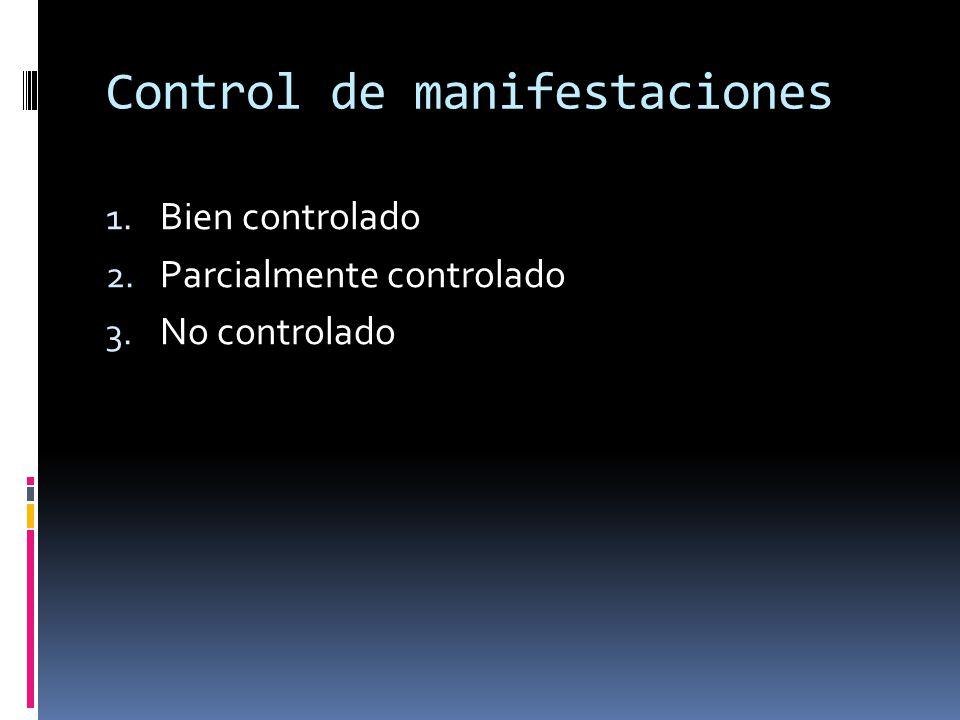 Control de manifestaciones 1. Bien controlado 2. Parcialmente controlado 3. No controlado