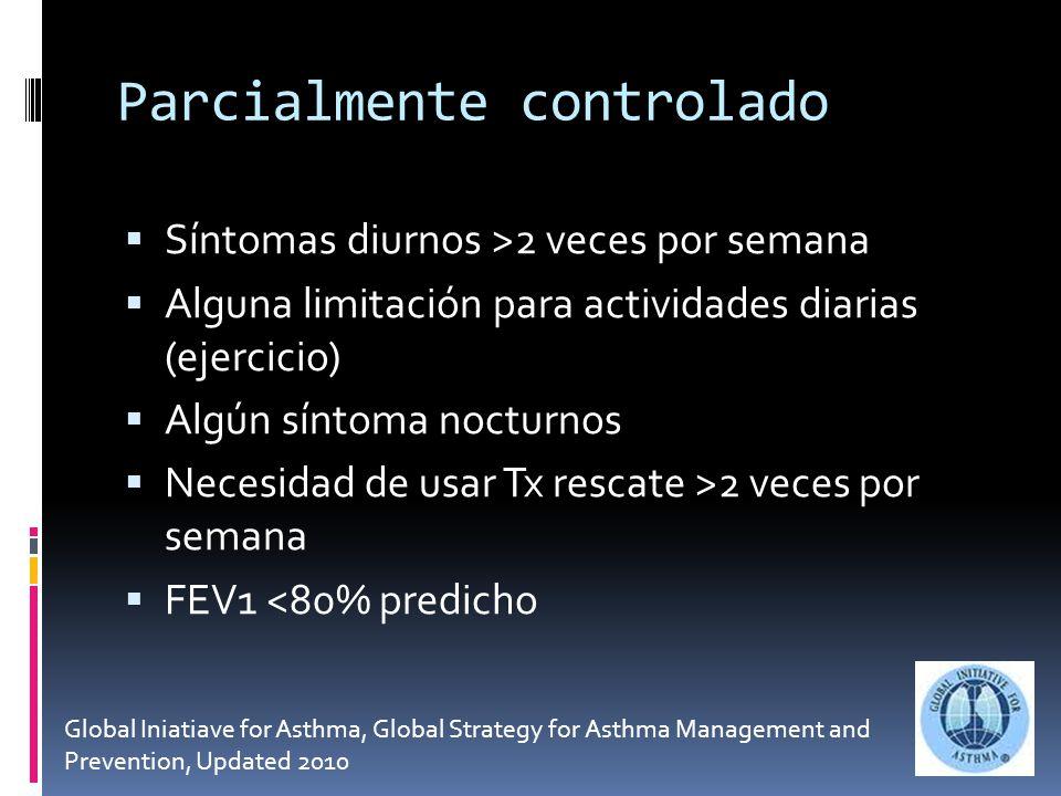 Parcialmente controlado Síntomas diurnos >2 veces por semana Alguna limitación para actividades diarias (ejercicio) Algún síntoma nocturnos Necesidad de usar Tx rescate >2 veces por semana FEV1 <80% predicho Global Iniatiave for Asthma, Global Strategy for Asthma Management and Prevention, Updated 2010