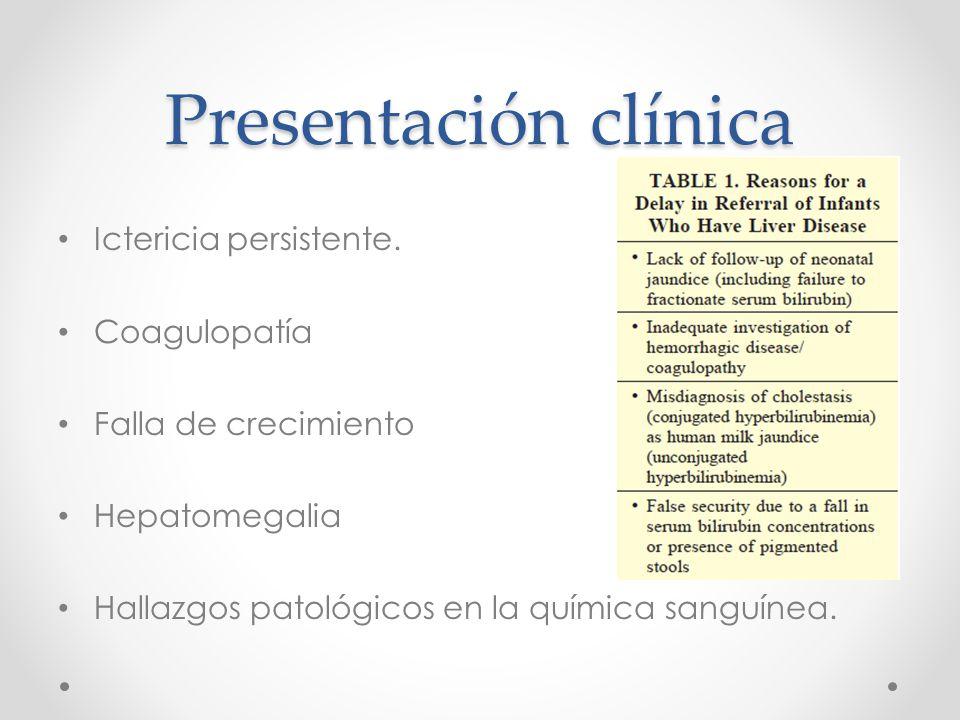 Presentación clínica Ictericia persistente.