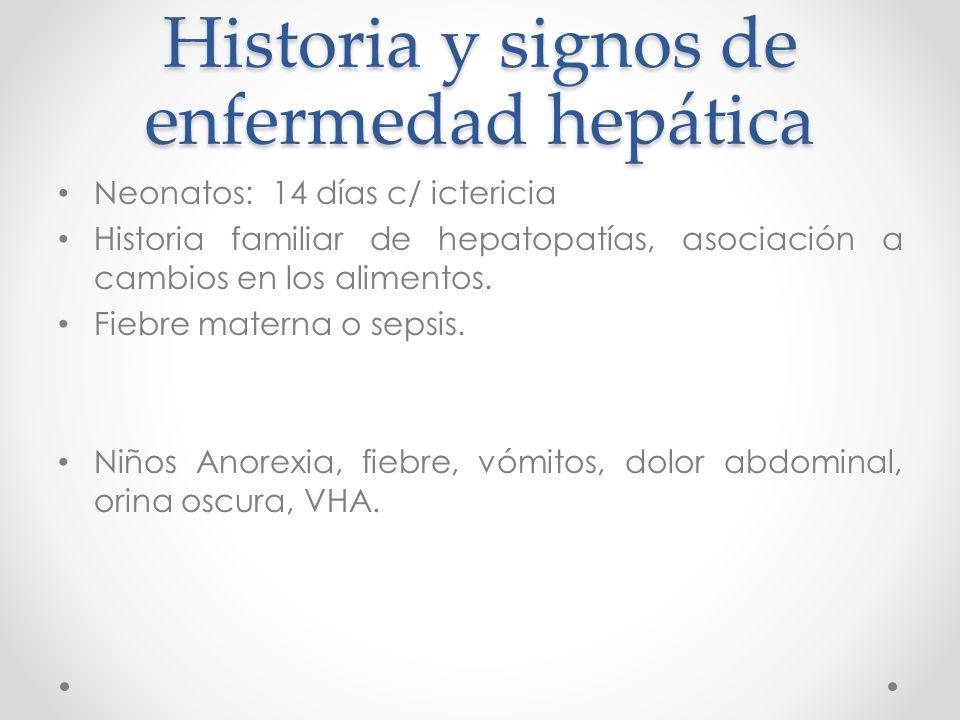 Historia y signos de enfermedad hepática Neonatos: 14 días c/ ictericia Historia familiar de hepatopatías, asociación a cambios en los alimentos.