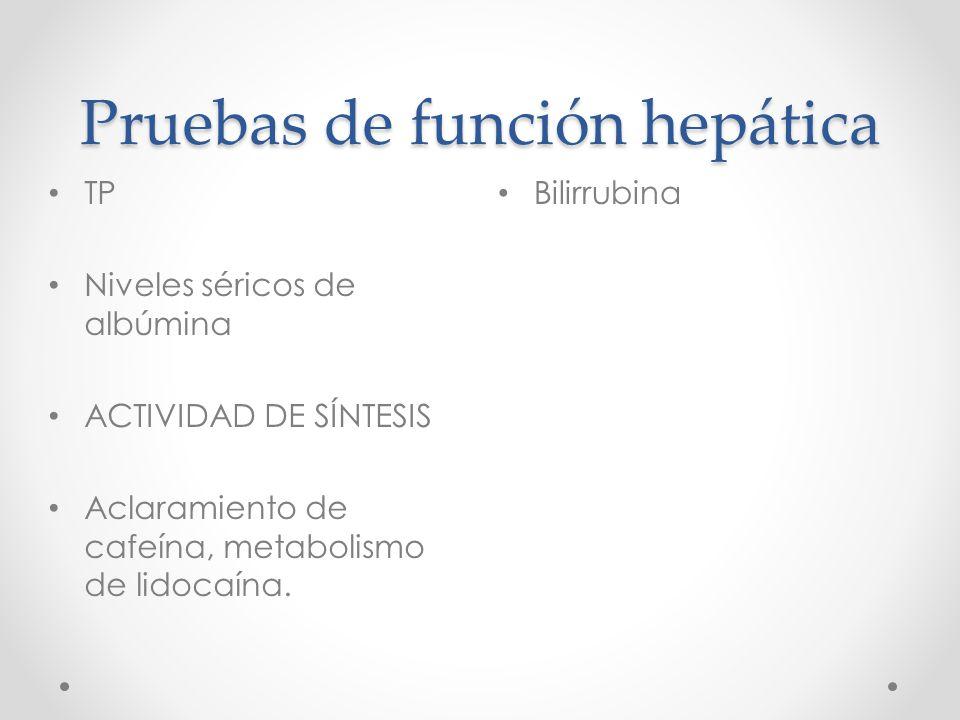 Pruebas de función hepática Bilirrubina TP Niveles séricos de albúmina ACTIVIDAD DE SÍNTESIS Aclaramiento de cafeína, metabolismo de lidocaína.