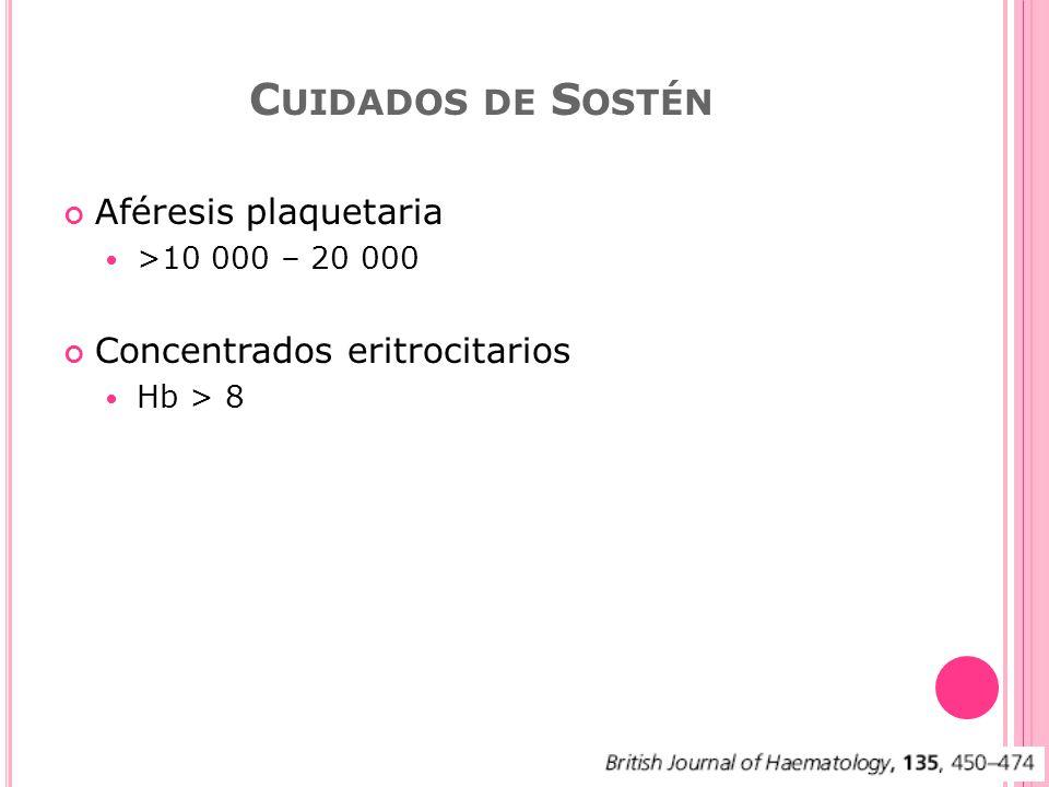 Aféresis plaquetaria >10 000 – 20 000 Concentrados eritrocitarios Hb > 8 C UIDADOS DE S OSTÉN