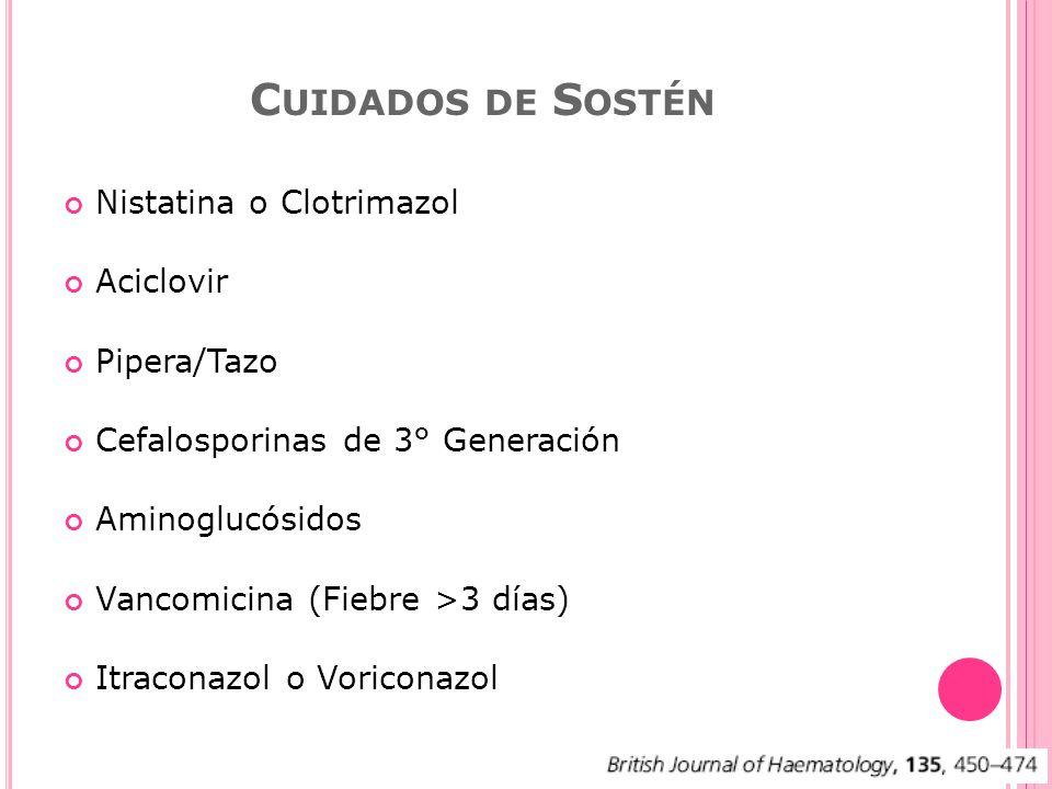 Nistatina o Clotrimazol Aciclovir Pipera/Tazo Cefalosporinas de 3° Generación Aminoglucósidos Vancomicina (Fiebre >3 días) Itraconazol o Voriconazol C UIDADOS DE S OSTÉN