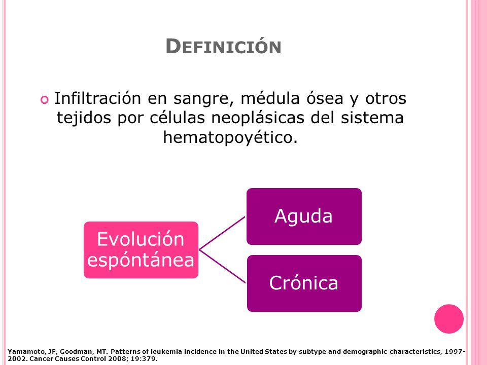 D EFINICIÓN Infiltración en sangre, médula ósea y otros tejidos por células neoplásicas del sistema hematopoyético.