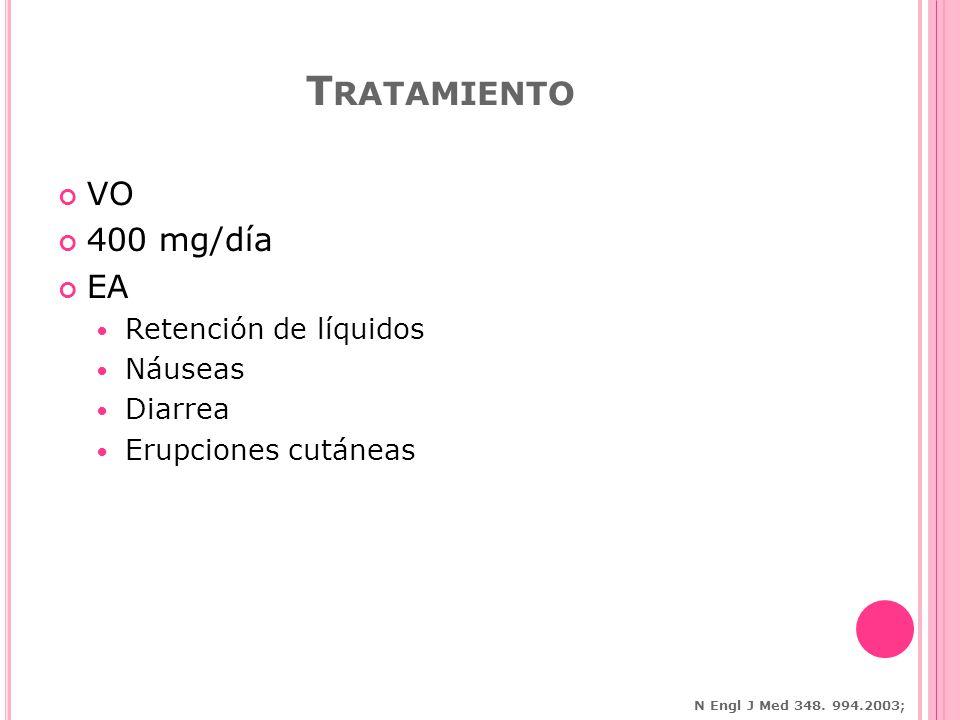 VO 400 mg/día EA Retención de líquidos Náuseas Diarrea Erupciones cutáneas T RATAMIENTO N Engl J Med 348.
