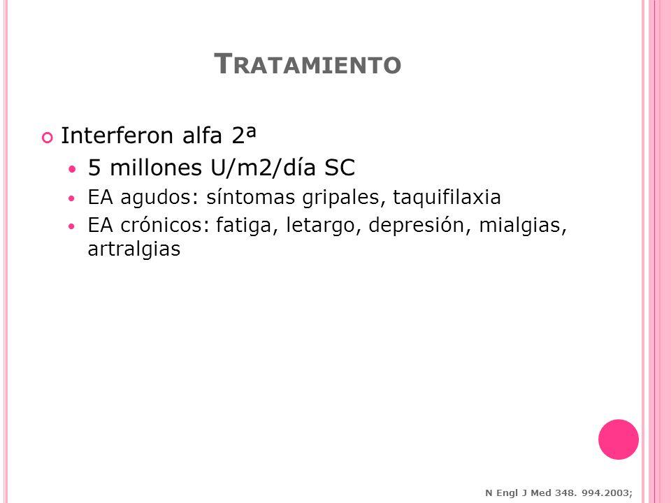 Interferon alfa 2ª 5 millones U/m2/día SC EA agudos: síntomas gripales, taquifilaxia EA crónicos: fatiga, letargo, depresión, mialgias, artralgias T RATAMIENTO N Engl J Med 348.