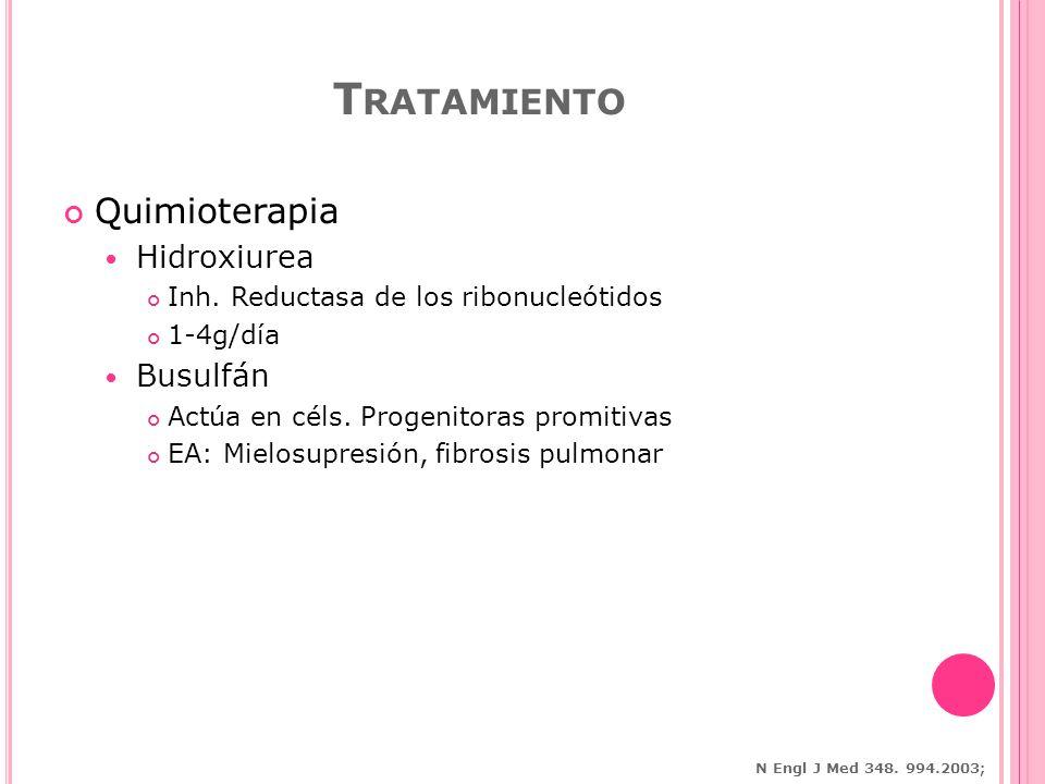 Quimioterapia Hidroxiurea Inh.Reductasa de los ribonucleótidos 1-4g/día Busulfán Actúa en céls.