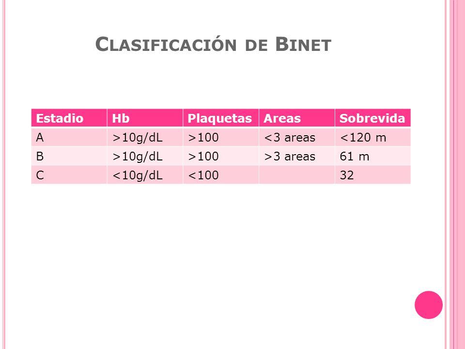 C LASIFICACIÓN DE B INET EstadioHbPlaquetasAreasSobrevida A>10g/dL>100<3 areas<120 m B>10g/dL>100>3 areas61 m C<10g/dL<10032